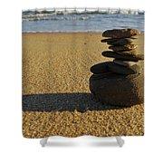 Stone Balance On The Beach Shower Curtain