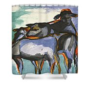 Stone Barn Cows Shower Curtain