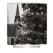 Stone Chapel - Black And White Shower Curtain