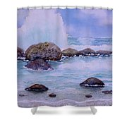 Stormy Shore On Nisyros Greece Shower Curtain