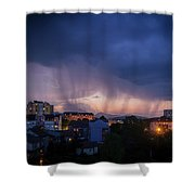 Stormy Weather Over The Small Town Shower Curtain