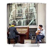 Street Musicians - Paris Shower Curtain by Brian Jannsen