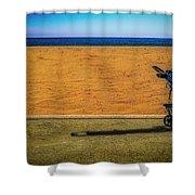 Stroller At The Beach Shower Curtain by Paul Wear