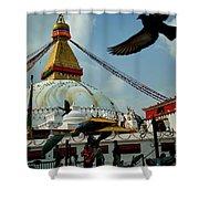 Stupa Bodhnath Kathmandu, Nepal - October 12, 2018 Shower Curtain by Raimond Klavins