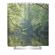 Summer Time River And Trees Shower Curtain