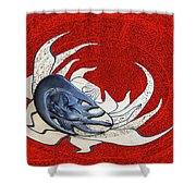 Sun And Moon On Red Shower Curtain
