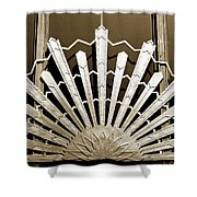 Sunburst Art Deco Sepia Shower Curtain