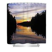 Sundown On The River Shower Curtain