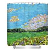 sunflower valley- Sunflower Art-Impressionism painting Shower Curtain