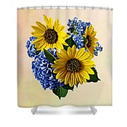 Sunflowers And Hydrangeas Shower Curtain