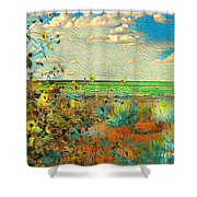 Sunflowers On The Edge Shower Curtain