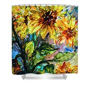 Sunflowers Summer Flowers Mixed Media Shower Curtain