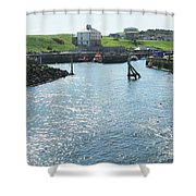 sunlight glistening on water at Eyemouth harbour Shower Curtain