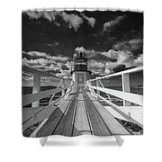 Sunny Skies At Marshall Point In Black And White Shower Curtain
