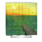 Sunrise At The Dock Shower Curtain