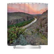 Sunrise In Big Bend Along The Hot Springs Trail 1 Shower Curtain