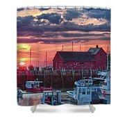 Sunrise On Rockport Harbor Shower Curtain by Jeff Folger