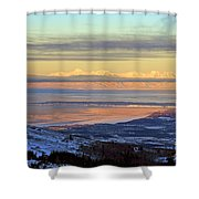 Sunrise View Across Cook Inlet From Above Anchorage Alaska Shower Curtain
