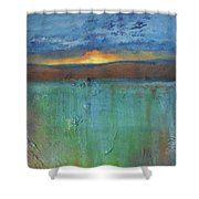 Sunset - Abstract Landscape Painting Shower Curtain