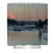 Sunset At Gig Harbor Marina With Mount Rainier In The Background Shower Curtain