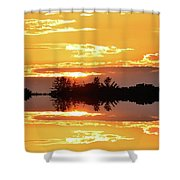 Sunset Behind The Tree Tops Two  Shower Curtain