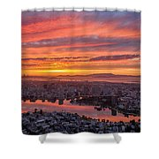 Sunset Explosion Over Lake Merritt Shower Curtain