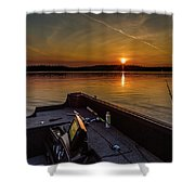 Sunset Fishing Dog Lake Shower Curtain