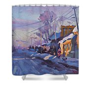 Sunset In A Snowy Street Shower Curtain