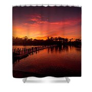 Sunset In Angkor Shower Curtain