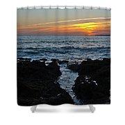 Sunset In Gale Beach. Coast Of Algarve Shower Curtain