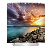 Sunset In Nafplio Shower Curtain