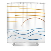 Sunset - Minimal Line Drawing Shower Curtain by Marianna Mills