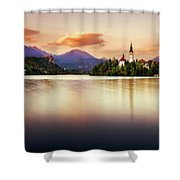 Sunset On Lake Bled Shower Curtain