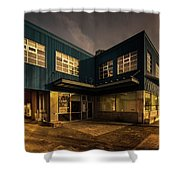 Sunset On North Building Shower Curtain by Juan Contreras