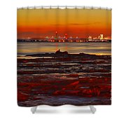 Sunset On The Still Frozen Upper Niagara River Shower Curtain