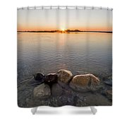 Sunset Over Platte River Shower Curtain