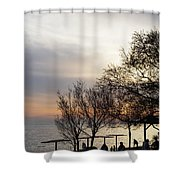 Sunset Scene Of Tree Branches And People Silhouettes Shower Curtain