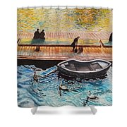 Sunset Scenery By Amsterdam Canal Shower Curtain