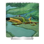 Super Sabres Over Vietnam - Oil Shower Curtain