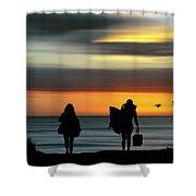 Surfer Girls Silhouette Shower Curtain