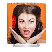 Surprised Vintage Woman Shower Curtain