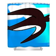 Swallow Flying With Flower In Its Beak Shower Curtain