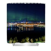 Swirly Aurora Over Stockholm And Gamla Stan Shower Curtain