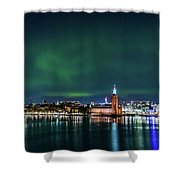 Swirly Aurora Over The Stockholm City Hall And Kungsholmen Shower Curtain