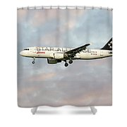 Swiss Star Alliance Livery Airbus A320-214 Shower Curtain