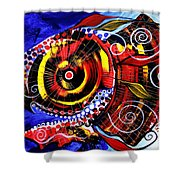 Swollen Red Cavity Fish Shower Curtain