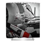T-28b Trojan In Selective Color Shower Curtain by Doug Camara