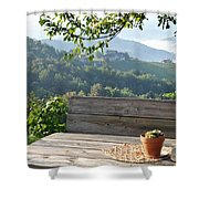 Table At The Vineyard Shower Curtain