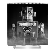 Take Me To Your Leader Vintage Tin Toy Robot Black And White Shower Curtain