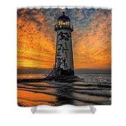 Talacre Beach Lighthouse Sunset Shower Curtain
